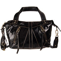 Fossil Black Monika Small Convertible Leather Satchel