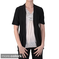 Tressa Designs Women's Stretchy Open Front Short-sleeve Cardigan