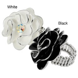 Journee Collection Silvertone Cubic Zirconia Flower Stretch Ring
