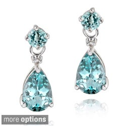 Glitzy Rocks Sterling Silver Gemstone and Diamond Earrings