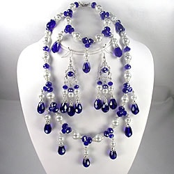 Navy Crystal and White Pearl Jewelry Set