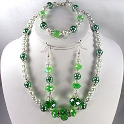 Silverplated White Glass Pearl and Peridot Green Crystal Jewelry Set