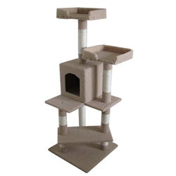 53 inch Ivory Cat Condo Furniture Tree