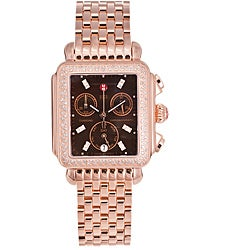 Michele Women's 'Deco' 18k Rose-goldtone Diamond Watch
