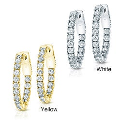 14k Gold 2 1/2ct TDW Diamond Hoop Earrings (H-I, SI1-SI2)
