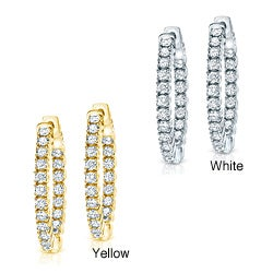14k Gold 1 3/4ct TDW Diamond Hoop Earrings (H-I, SI1-SI2)