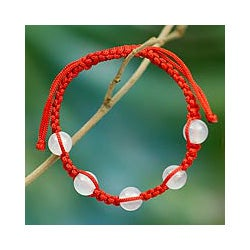 Chalcedony 'Peace and Good Fortune' Macrame Bracelet (India)