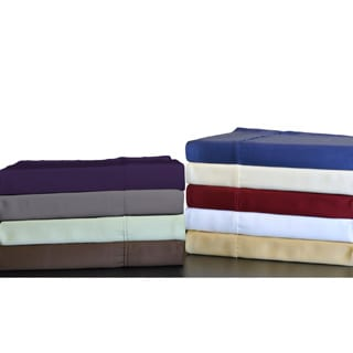 Brielle Solid 300 Thread Count Bamboo Rayon Sateen Sheet Set