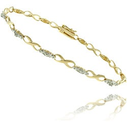18k Gold over Silver Diamond Accent Infinity Link Bracelet