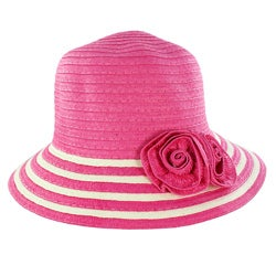 Fashionable Women Summer Straw Hat Floral Accent Adds Style Pink Design