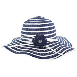 Women's Blue/ White Floral Straw Hat
