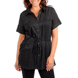 Stanzino Women's Plus Size Black Collared Drawstring Tunic