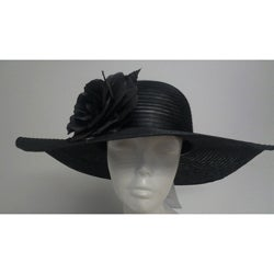 Swan Women's Black Crinoline Flower-topped Floppy Hat