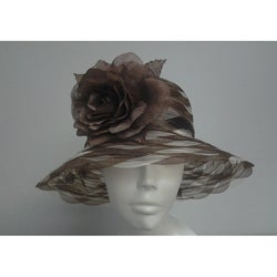Swan Women's Brown/ Ivory Braided Crinoline Floppy Hat