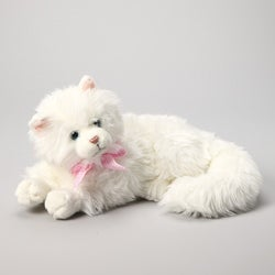 Russ Berrie Yomiko 14-inch Collectible Nikki White Lying Plush Cat