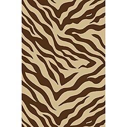 Zebra Brown Non-skid Rug (6'6 x 9'2)