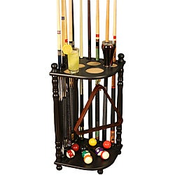 Hardwood 10-pool-cue Billiards Rack with Durable Black Finish