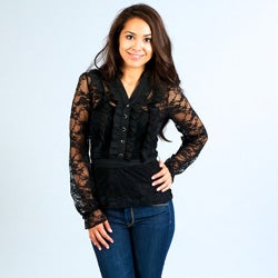 Think Knit Junior's Black Lace Long-sleeve Shirt