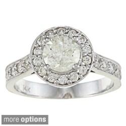 Auriya 14k Gold 1 3/4ct TDW Diamond Halo Engagement Ring (J-K, I1-I2)