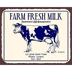 Vintage Metal Art 'Farm Fresh Milk' Decorative Tin Kitchen Sign