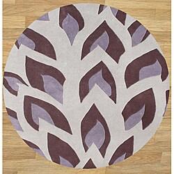 Handmade Flame Inspiration Hushed Violet Wool Rug (6' Round)