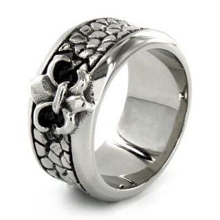 Stainless Steel Fleur de Lis Stone Textured Ring