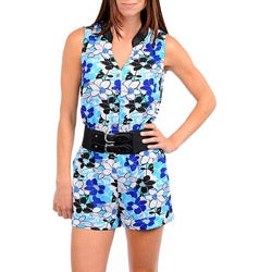 Stanzino Women&#39;s Blue Floral Belted Romper