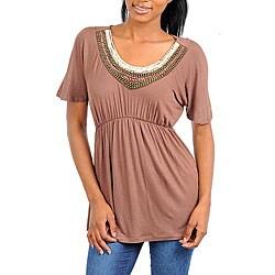 Stanzino Women's Brown Embellished Neck Tunic