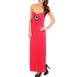 Stanzino Women's Fuschia Embellished Strapless Maxi Dress