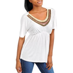 Stanzino Women's White Embellished Neck Tunic
