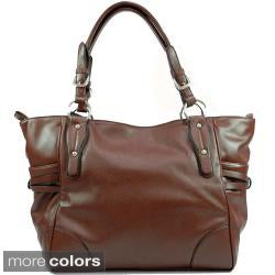 Dasein Solid-color Faux-leather Double-handle Zip-top Tote Bag