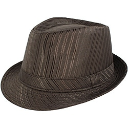 Faddism Men's Brown Striped Fedora Hat