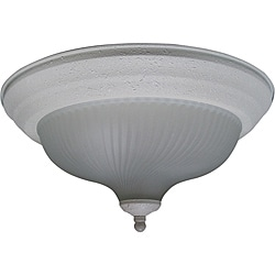 One Light Textured White Flush Mount