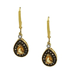 Gold over Silver Simulated Multi-gemstone Earrings