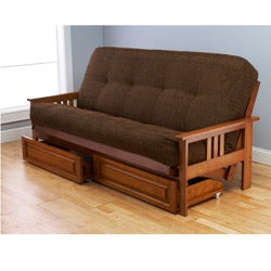 Beli Mont Multi-flex Honey Oak Futon Frame, Drawers and Mattress Set