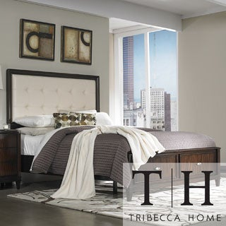 Tribecca Home Cumbria Cream Linen 2-drawer Queen-size Storage Plateform Bed