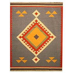 EORC Handmade Wool Blue Keysari Kilim Rug (8'4 x 10')