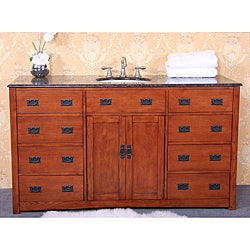 Granite Top 60-inch Single Sink Bathroom Vanity