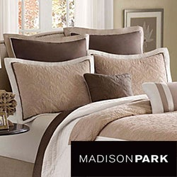 Madison Park Danville Brown/Ivory Pieced Seven-piece Coverlet Set