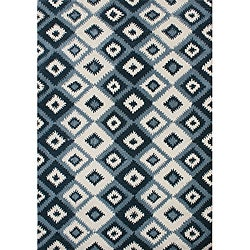 Metro IKAT pattern Hand Made Orion Blue New Zealand Wool Rug (8' x 10')
