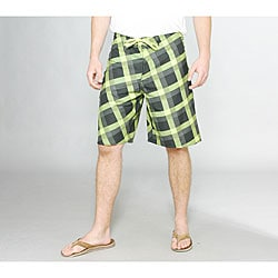 Zonal Men's 'Content' Green Plaid Boardshorts
