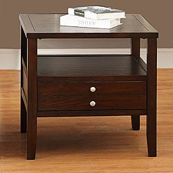 Ingleby Espresso Wood Top Storage End Table