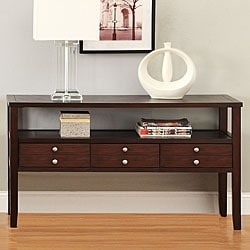 Ingleby Espresso Wood Top Storage Sofa Table
