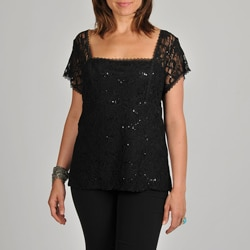 Onyx Nite Women&#39;s Plus Black Sequin Lace Top
