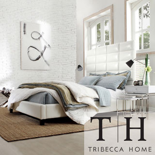 Tribecca Home Sarajevo White Bonded Leather High Profile Tufted Full-size Bed