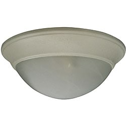 Two Light Textured White Flush Mount