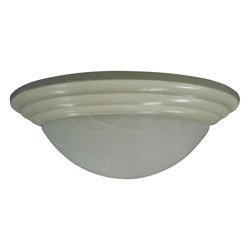Three Light Textured White Flush Mount