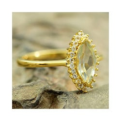 Gold Overlay 'Kashmir Star' Amethyst Topaz Ring (India)