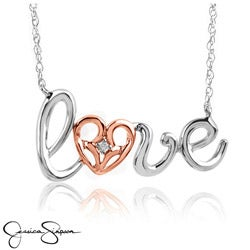 Jessica Simpson Sterling Silver and Gold Diamond Accent &#39;Love&#39; Necklace