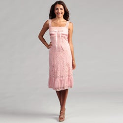 Issue New York Women&#39;s Pink Allover Crochet Dress